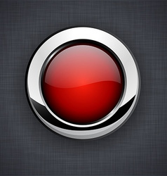 Glossy 3d red button vector image