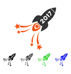2017 rocket flat icon vector image