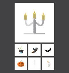 flat icon festival set of skeleton magic vector image vector image