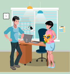 angry boss fired a female employee vector image vector image