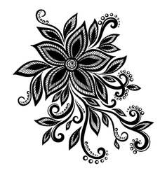 black white flower lace eyelets design element vector image vector image