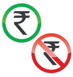 Rupee permission signs set vector image