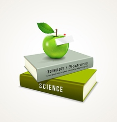 Colorful book and green apple vector image