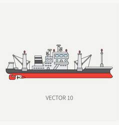 Line flat color icon comercial trawler ship vector