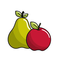 pear and apple fruit icon stock vector image vector image