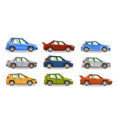 set of cars collection vehicle sedan hatchback vector image