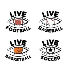 sport set icons for live football basketball vector image