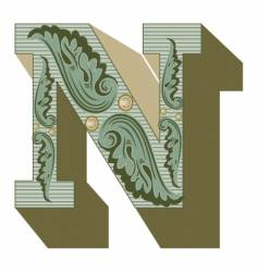 western letter n vector image vector image