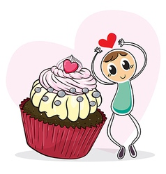 A cupcake and a sketch of a man with a red heart vector image