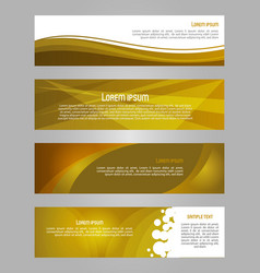 abstract set of 4 simply banner in gold color vector image