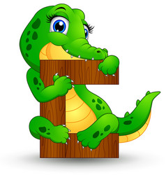 alphabet c with crocodile cartoon vector image
