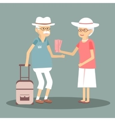 An Elderly Couple Travels vector