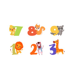 anniversary numbers with cute animals set vector image