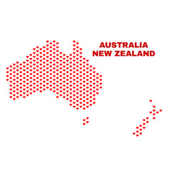 australia and new zealand map - mosaic of vector image