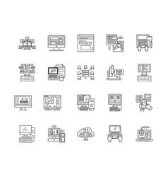 big data management line icons signs set vector image