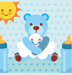 blue toy bear hugs cloud cartoon bottles dotted vector image