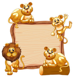 Border template design with cute lion family vector