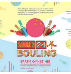 Bowling tournament poster or flyer abstract vector