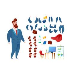 business man super hero cape animation set vector image