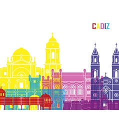 Cadiz skyline pop vector image