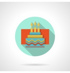 Cake with candles flat color icon vector image