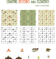 Camping patterns and hiking elements set - tent vector