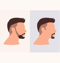 Cartoon flat face man fade haircuts vector
