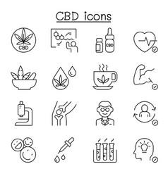 Cbd cannabis marijuana icon set in thin line style vector