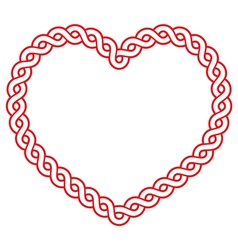 Celtic pattern red heart shape - love concept for vector image