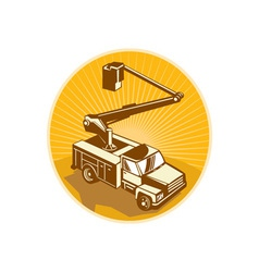 Cherry Picker Bucket Truck Access Equipment Retro vector