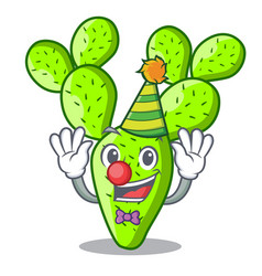 Clown cartoon the prickly pear opuntia cactus vector