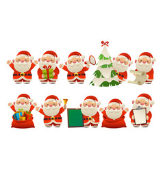 collection of happy cute christmas santa claus vector image