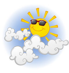Cool sun cartoon character in clouds vector