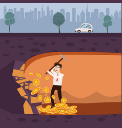 cryptocurrency concept with businessman miner and vector image