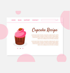 cupcake recipe banner landing page template with vector image