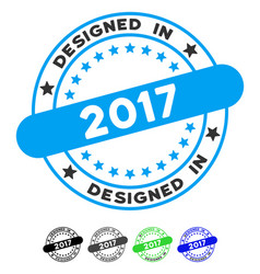 Designed in 2017 stamp flat icon vector