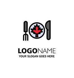 Dinner autumn canada leaf business logo template vector