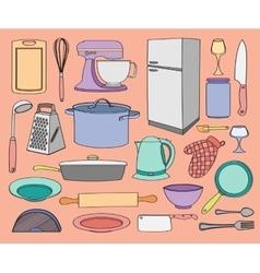 Doodle kitchen vector image