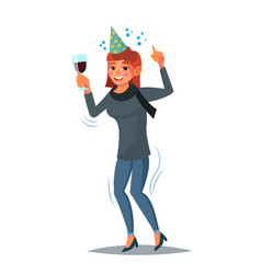 Drunk office female worker have fun vector