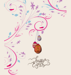 Easter eggs doodle florals vintage background vector