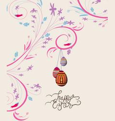 easter eggs doodle florals vintage background vector image