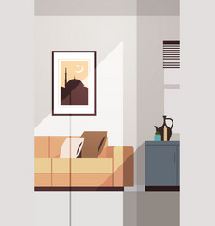 Eastern traditional living room interior vector