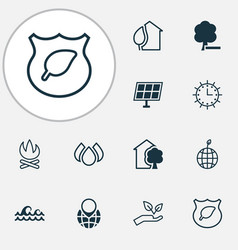 eco-friendly icons set with protect nature vector image