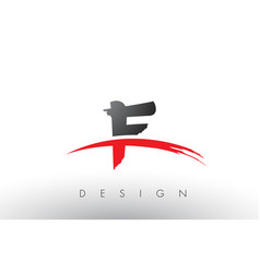 F brush logo letters with red and black swoosh vector