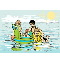 Family at sea vector image