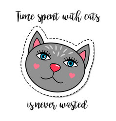 Fashion patch element grey cat vector