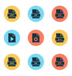 file icons set with database doc zip and other vector image