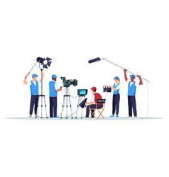 Filming crew semi flat rgb color vector