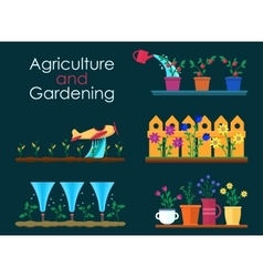 Flat banners for garden work and gardening vector