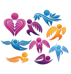 Flying people symbols and signs vector
